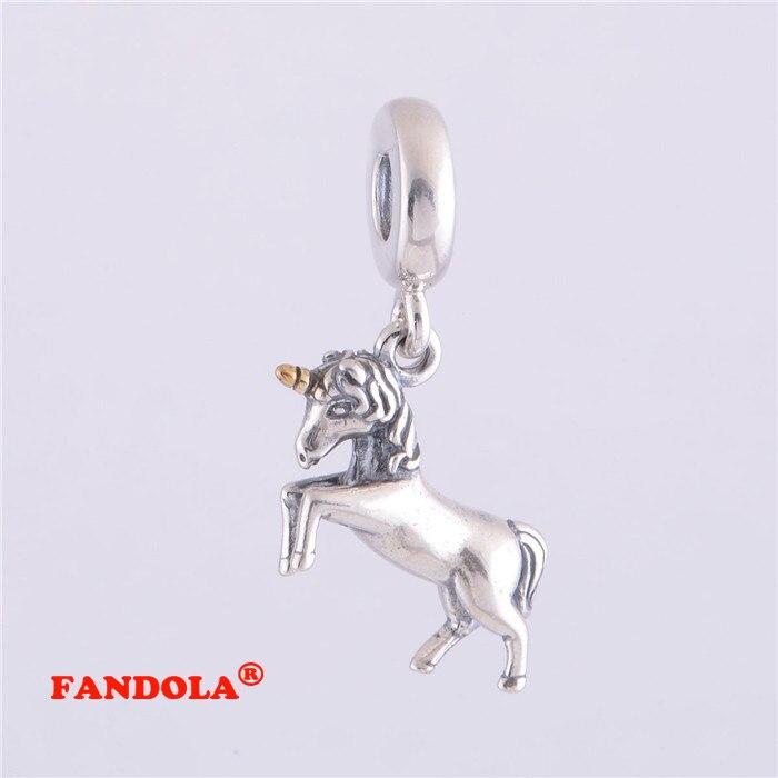 Convient Pandora Charms Bracelet 100% 925 Sterling Argent Licorne Balancent Vis Fil Charme Perles pour La Fabrication de Bijoux LW278K
