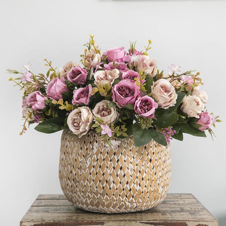 Nouveau 8 têtes petite soie artificielle Rose fleurs flores fleur artificielles pour la maison table décoration fausse fleur petit bouquet