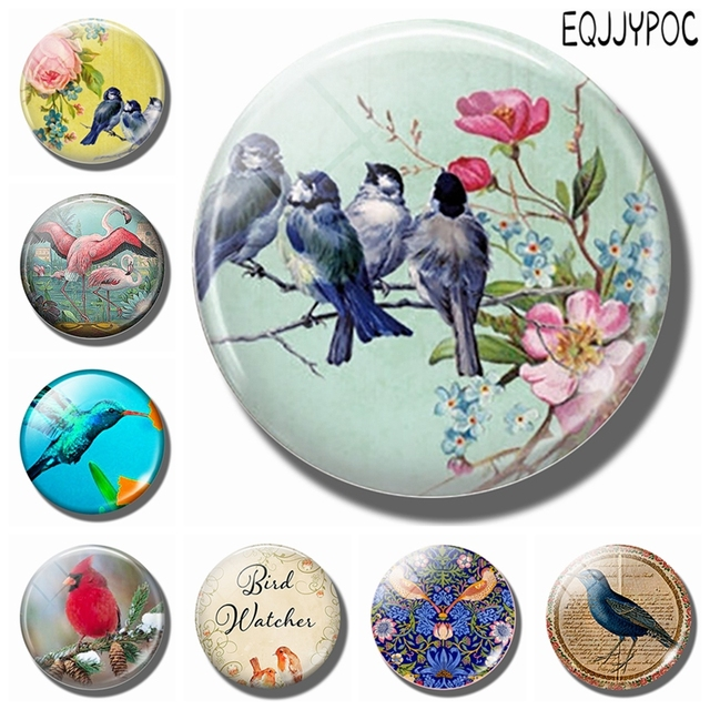 Blue Birds on A Branch 30MM Fridge Magnet Pink Flowers Glass Cabochon Magnetic Refrigerator Stickers Note Holder Home Decoration 1