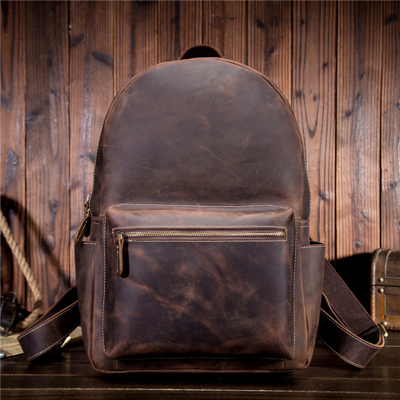 Men's Backpack Crazy Horse Leather Backpack Retro Yellowish Brown College Wind Student Backpack 9338