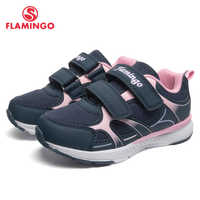 FLAMINGO Brand Breathable Arch Hook& Loop TPR Children Sport Shoes Leather Size 25-31 Kids Sneaker for Girl 91K-YC-1372/ 1373