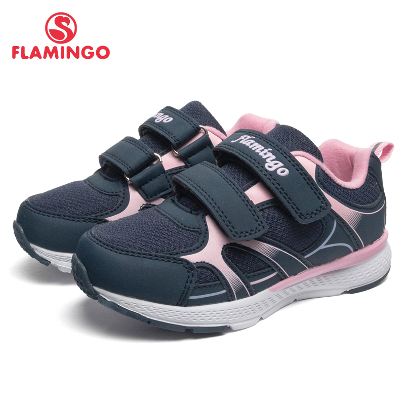 FLAMINGO marca transpirable arco gancho & lazo TPR niños deporte zapatos de cuero tamaño 25-31 niños zapatillas para niña 91K-YC-1372/1373