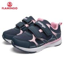 Фламинго фирменные дышащие арки Hook & Loop TPR детей спортивная обувь Кожа Размеры 25-31 детские кроссовки для девочки 91K-YC-1372 /1373