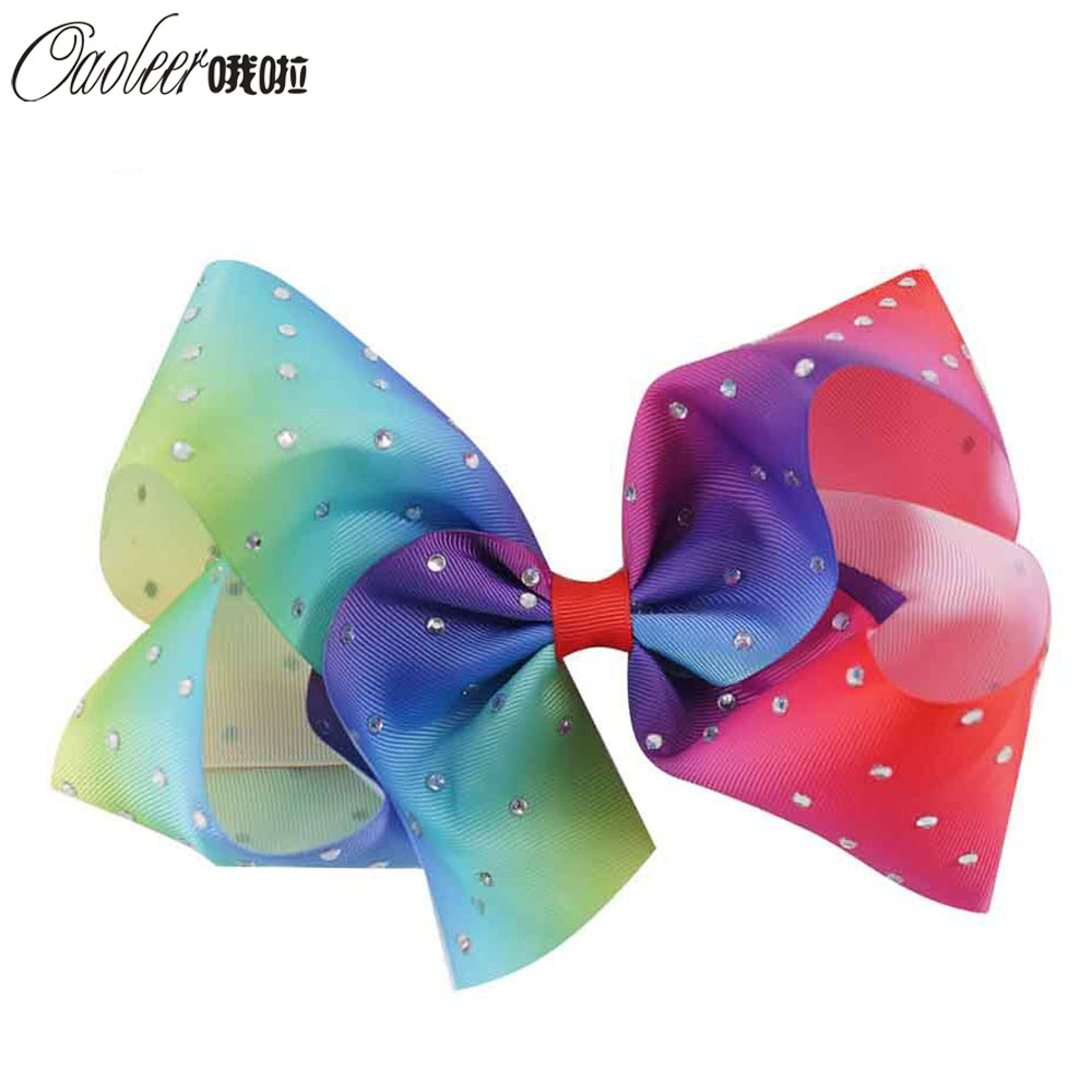 5pcs/lot 7 Jumbo Rainbow Rhinestone Hair Bow With alligator Clip For Girls Diamond Rainbow Hair Acceessories For Girl