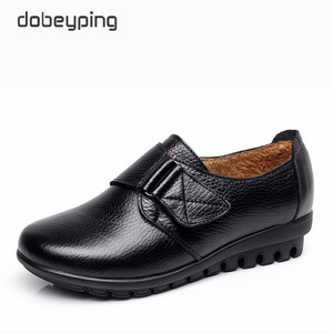 Image 2 - New Arrival Flats Shoes Woman High Quality Genuine Leather Womens Casual Shoes Buckle Mother Walking Footwear Plus Size 35 43