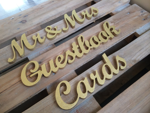Guestbook, Cards and Mr & Mrs signs Wedding reception set - wedding table decor - Not Painted, Painted or Glittered wooden signs