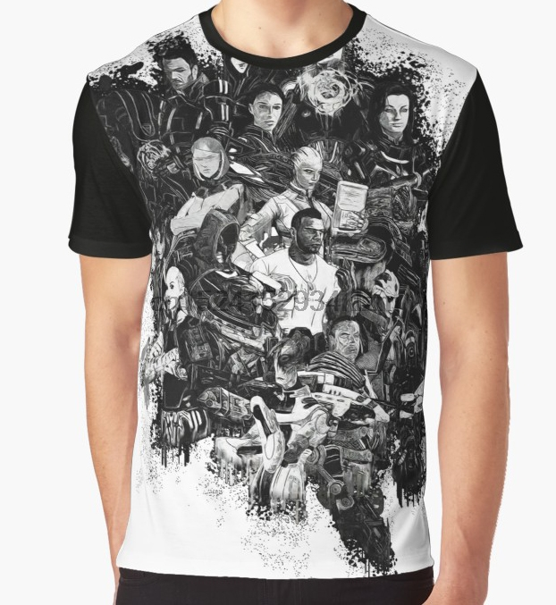 6ffadaedf7813 All Over Print T-Shirt Men Funy tshirt Mass Effect Short Sleeve O-Neck
