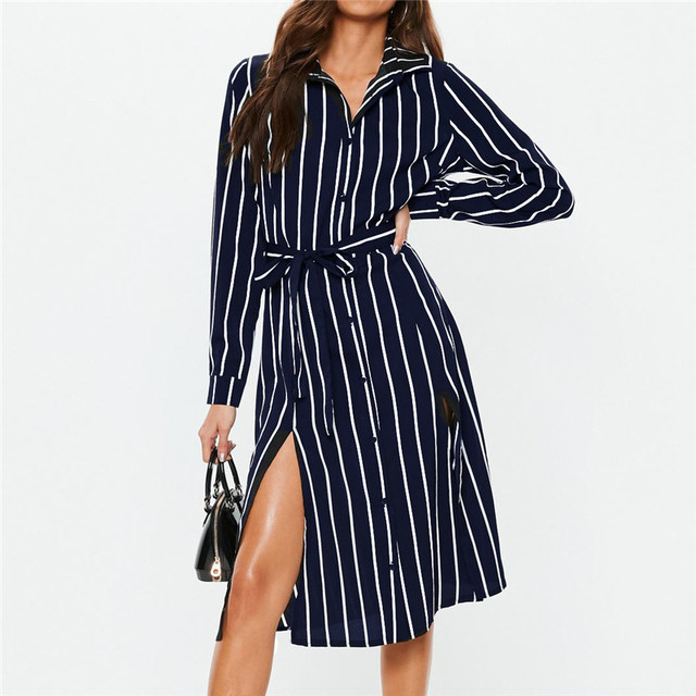 eec20513d36 Office Ladies Shirt Dress Women Summer Striped Chiffon Dress Casual  Sundress Tunic Long Sleeve Midi Elegant