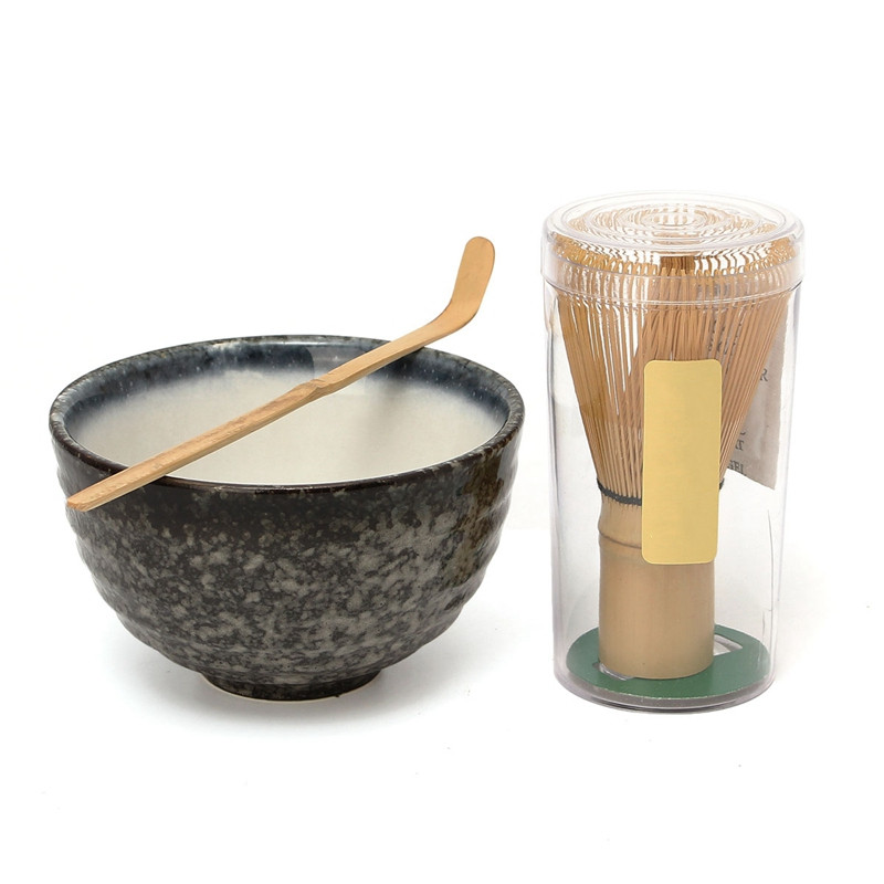Hot Sale 3pcs sets Bamboo Matcha Tea Ceremony Gift Set with Ceramic Tea Bowl Scoop Powder