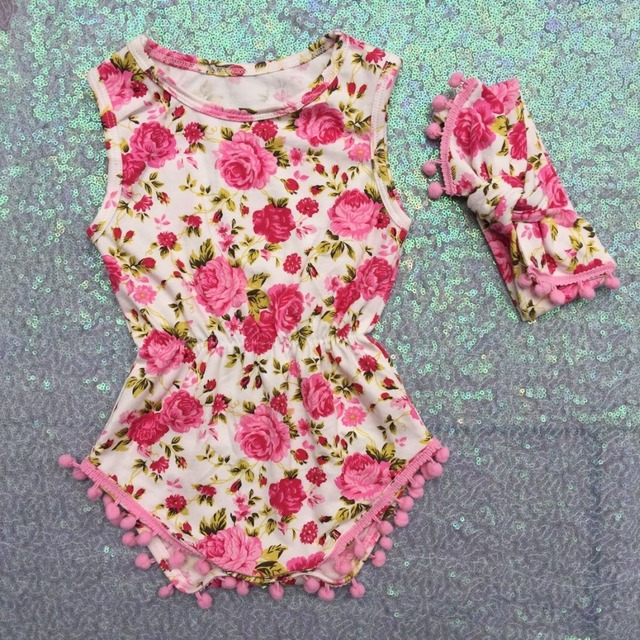 a1646c0a2 Pom Pom Romper headband,Floral Baby Sunsuit,Baby Girl Outfit,Boho Chic pink floral  Romper,1st Birthday Shabby Chic Romper