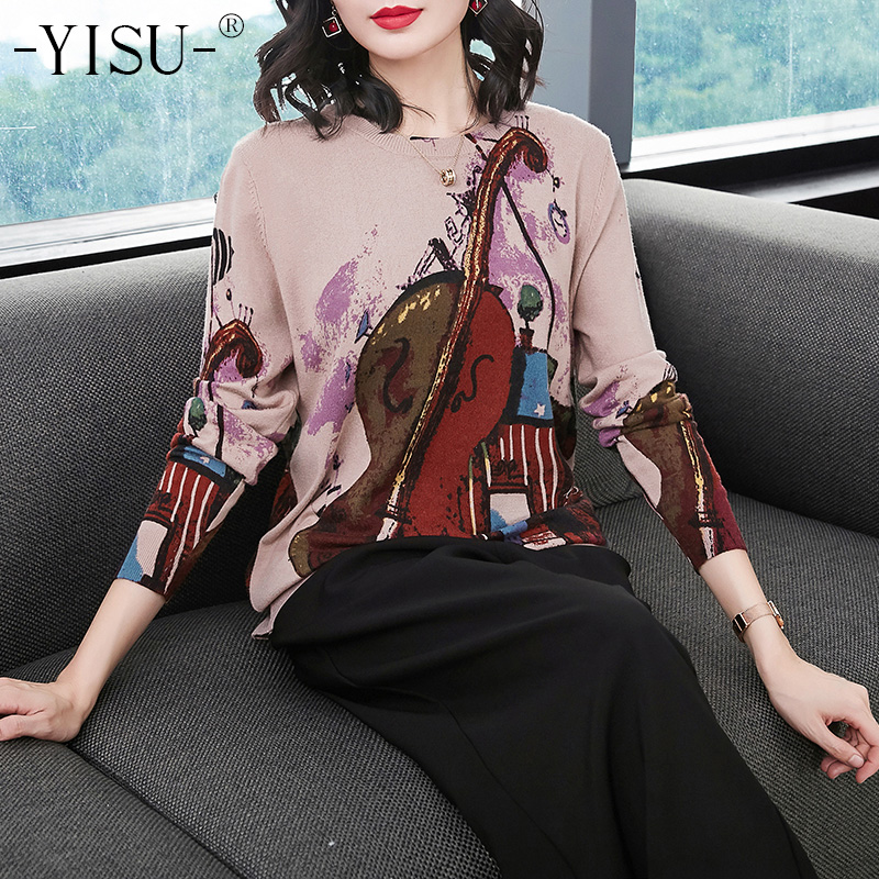 YISU Knitted Print Sweater Women Long Sleeve Jumper Pullover Knitwear Tops 2018 Autumn Winter Fashion Guitar Print Sweater