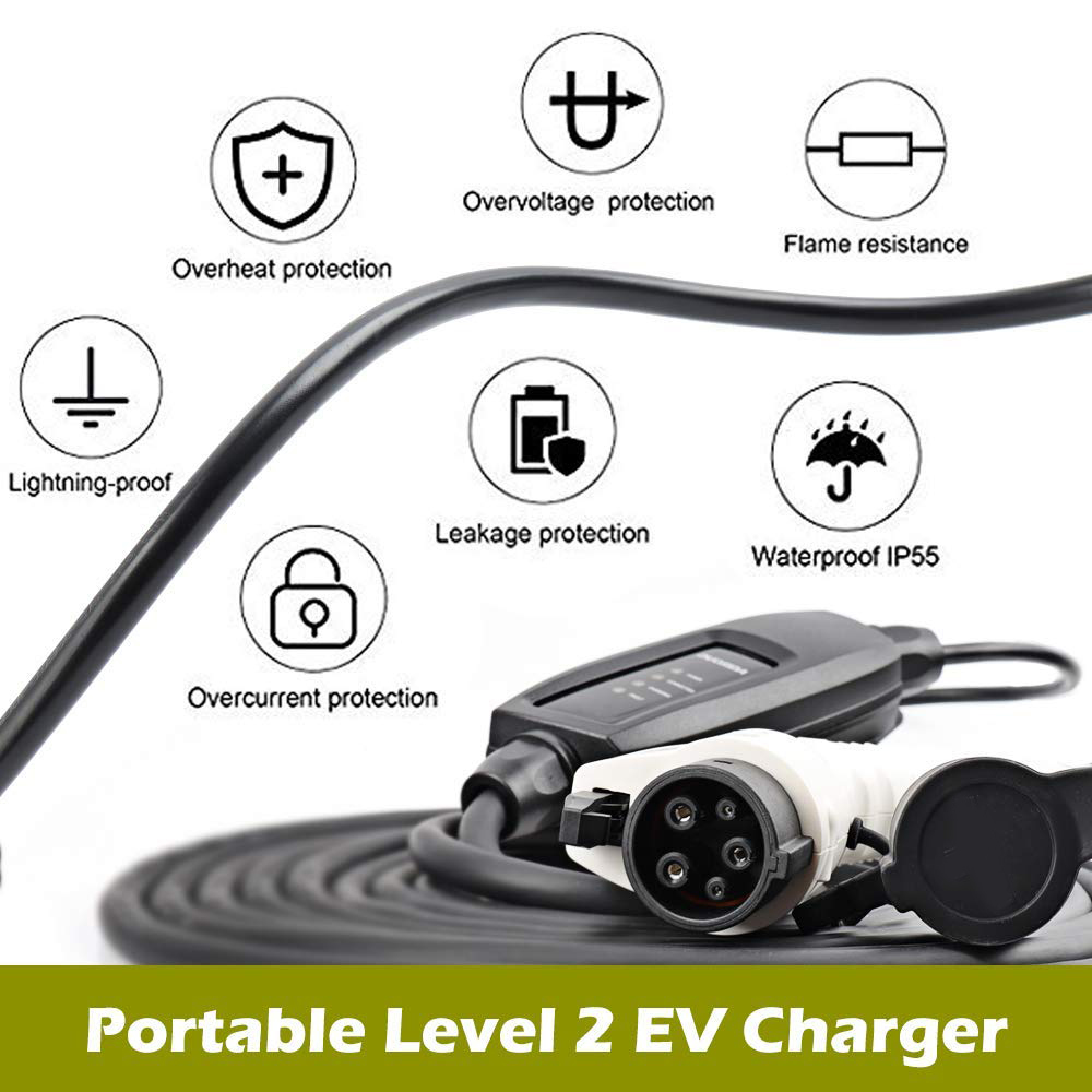 KEMiMOTO EU Plug J1772 EVSE Input EV Plug Level 2 EV Charger 16A Type 1 Schuko 5M cable For Electric Car Charging Mode 2 plug tax free to eu evse car charger 16a j1772 duosida level 1 electric vehicle charging 16a blue cee with 5m cable with dummy socket