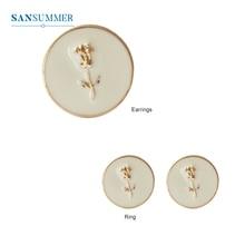 SANSUMMER Ladies Ring Simple Embossed Pattern Rose Metal Round Temperament Popular Female Fashion Accessories 6792