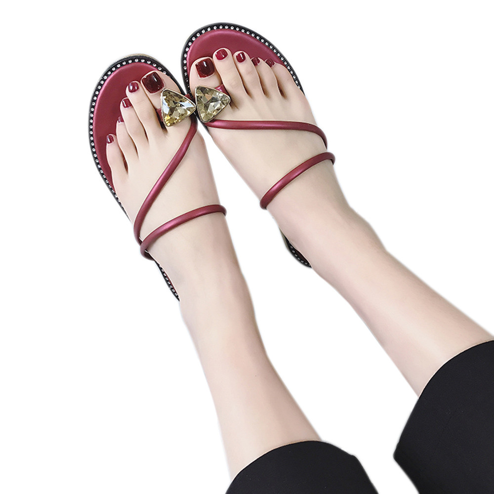 Sandals Women Shoes Flat 2018 New Fashion Women Rhinestone Flat Heel Anti Skidding Beach Shoes Sandals Female zapatos mujer A6 summer flat sandals female gladiator sandals basic slippers stripe flat heel anti skidding beach shoes sandalias