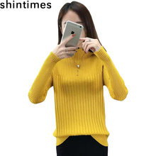 2019 Autumn Winter New Pull Femme Korean 11 Colors Sweater Turtleneck Casual Womens Sweaters Pullovers Elasticity Woman