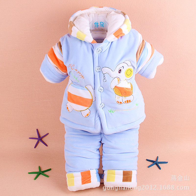 ФОТО Baby Cotton Two Piece Boys and Girls Warm Coat 2016 New Baby Kid's Kit Infant Outwear Winter Clothes Thicker Baby Sets