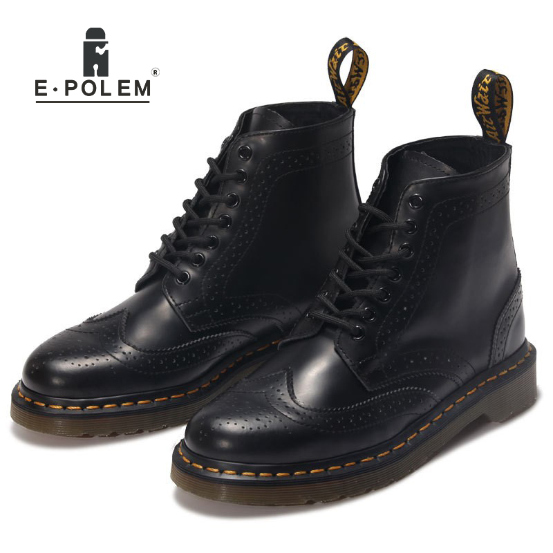 2017 New England Style Tide Genuine Leather Martin Boots Unisex head layer cowhide short boots Black Ankle martin Boots insight guides new zealand
