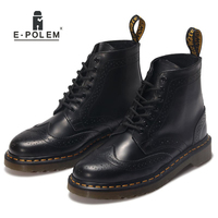 2016 New England Style Leather Martin Boots Men Women Head Layer Cowhide Short Boots Ankle Martin