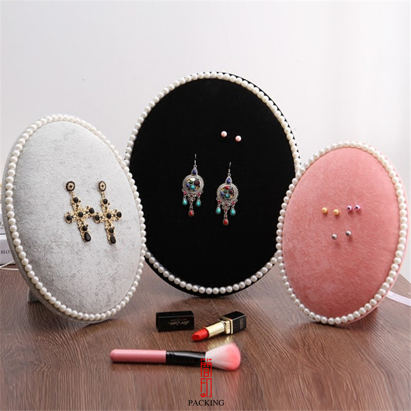 Display Holder Stand For Earrimgs Jewelry Oval Velvet Display Rack OrTake photo Props For Pearl Earrings Badges and Brooch