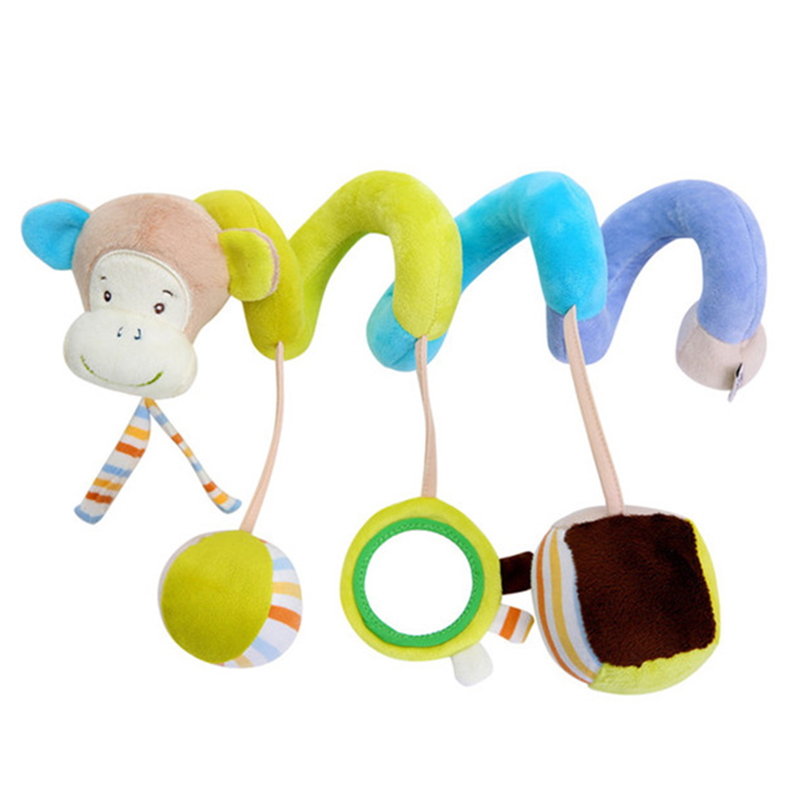 0-12 Months Baby Toys Cartoon Animal Soft Newborns Baby Toy Spiral Bed&Stroller Car Seat Hanging Bebe Educational Rattle Toys