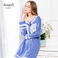 Fashion Female Nightgown Princess Nightdress Royal Vintage Sleepshirts Ladies Sleepwear Nightwear Dress Women Indoor Clothing