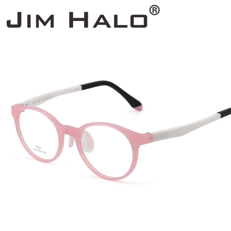 Jim Halo Kids Teens Round Eyeglasses Optical TR Frame Girls Boys Non-Prescription Clear Lenses