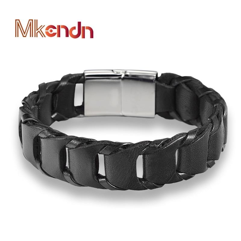MKENDN Moda jóias finas maré homens de couro de Aço Inoxidável Fivela Magnética pulseiras masculinas pulseira Vintage personalidade presente