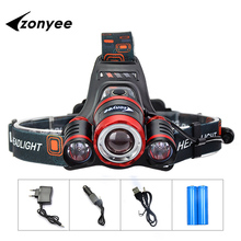 Head Flashlight Rechargeable Head Torch 10000Lm3 XML T6 LED Headlight Lamp Zoom 4 mode 18650 Lampe Frontale Fishing Light Russia