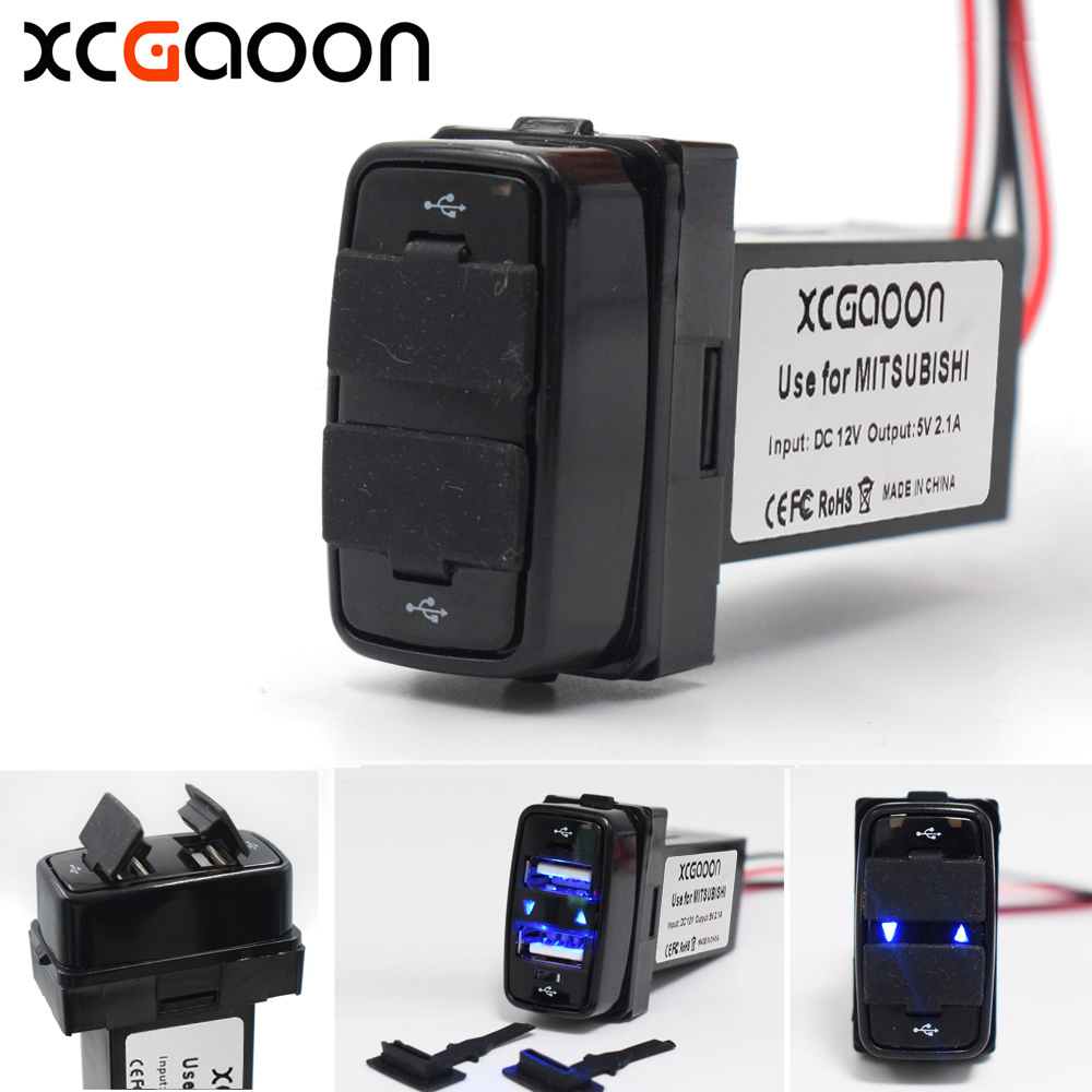 XCGaoon <font><b>5</b></font> Piece Special Dedicated 5V <font><b>2</b></font>.1A <font><b>2</b></font> <font><b>USB</b></font> Interface Socket Car Charger for MITSUBISHI, <font><b>DC</b></font>-<font><b>DC</b></font> Power Inverter Converter image