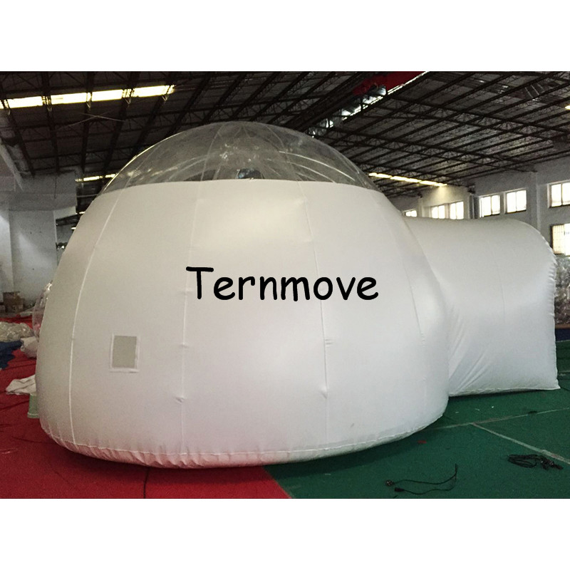 inflatable half clear dome tent for hiking,Giant Outdoor Single Tunnel New Arrival Half Transparent Inflatable Bubble Tent black inflatable tunnel 4 4 3m tunnel tent stage tent for children giant inflatable stage cover for sale toys tents