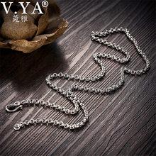 53c3bf79c147 V YA 925 de Plata de Ley 3 4 5 MM enlace cadena collar de los hombres-24  pulgadas cadenas fit colgantes puro de plata tailandesa.