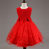 Red Dress 2016 Girl Flower Bud Silk Princess Party Dress Girl Flower Dress Pearl Child Clothes