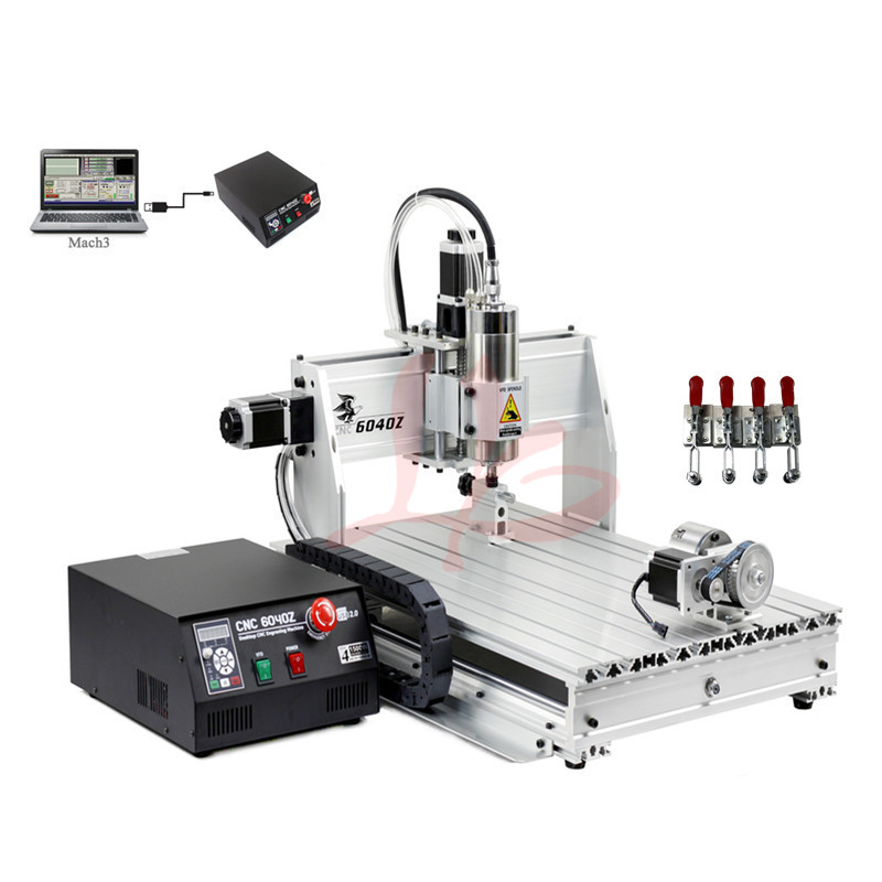 Desktop 6040 cnc wood router mach3 800W water cooling spindle milling cutting machine mach3 cnc milling machine 6040 4axis wood router with 800w water cooling spindle ball screw rotary axis