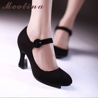 Meotina Women Shoes Mary Jane Pumps Thick High Heels Shoes 2018 Spring Round Toe Casual Shoes Autumn Plain Black Red Size 34 39