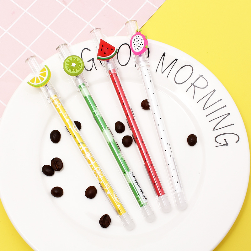 3PCS Cute  Dragon Fruit Kiwi Watermelon Lemon Erasable Gel Pen School Office Supply Student Stationery Blue Ink 0.4mm