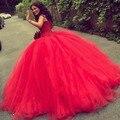 Кантри Красный Бальное платье Свадебное Платье 2016 Свадебные Платья Африканских Бусы Одеяние Де Mariage Спинки Невесты Платья