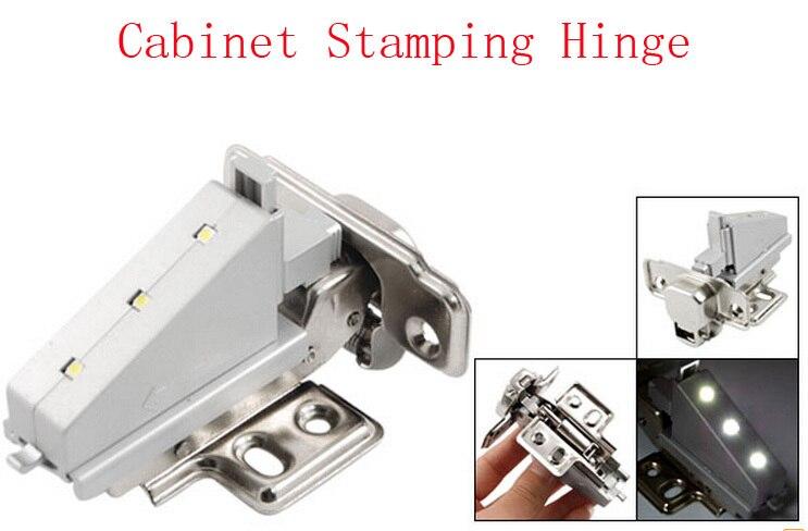 Silver Tone Gray 3 LED Furniture Closet Cabinet Stamping Hinge Pair