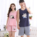 1070 100% Cotton Couples cute sleeveless Sleepwear