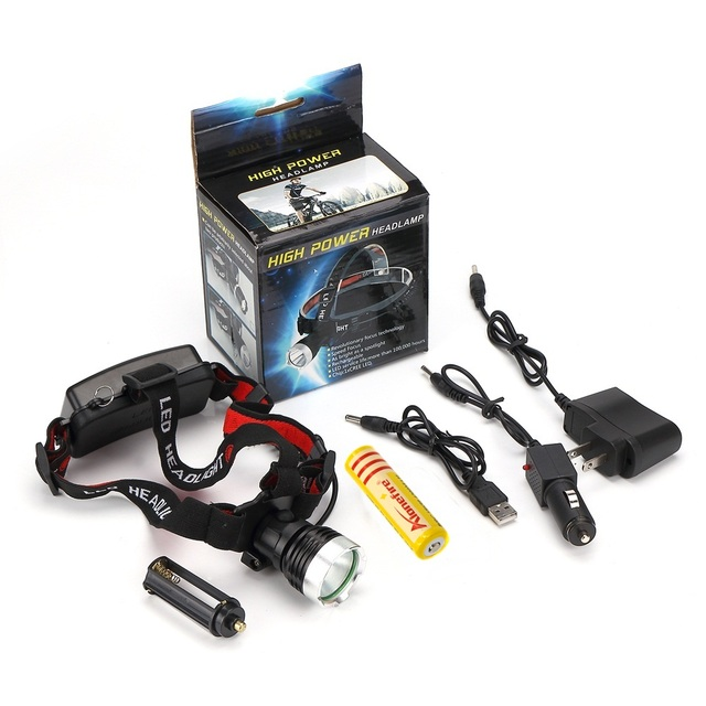 AloneFire HP76 Cree XM-L T6 LED 2000LM cree led Head lamp Head light +AC Charger/Car charger/2x18650 rechargeable Battery