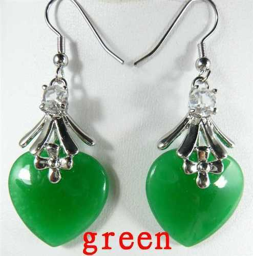 Silver grade latest word Love real hot sell new Noblest womens green heat love stong bead earrings