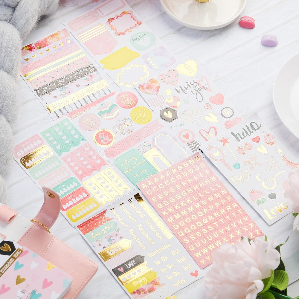 KLJUYP 8pcs Hello Love Stickers For Scrapbooking Happy Planner/Card Making/Journaling Project
