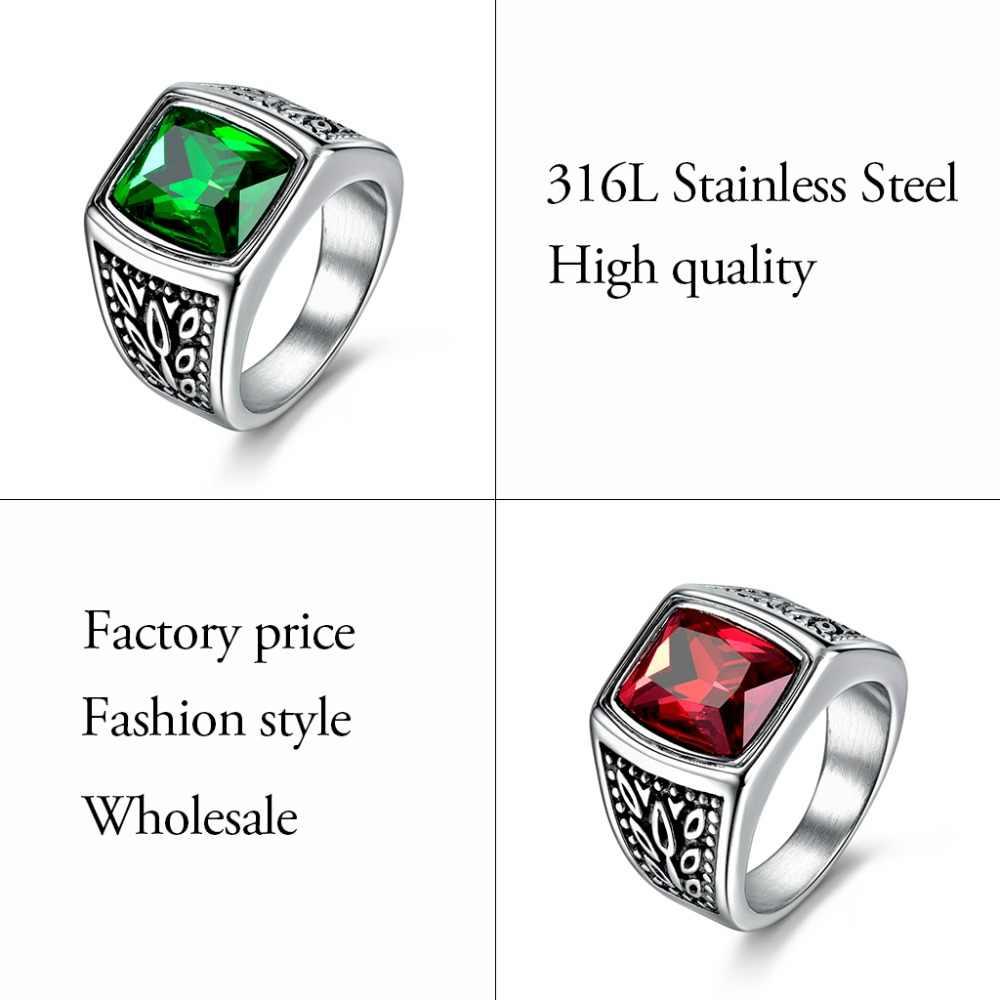 XIAGAO подарок 2 цвета красный зеленый квадратный камень титановое кольцо для мужчин 316L нержавеющая сталь уникальный модный мужской крест кольцо для мальчика