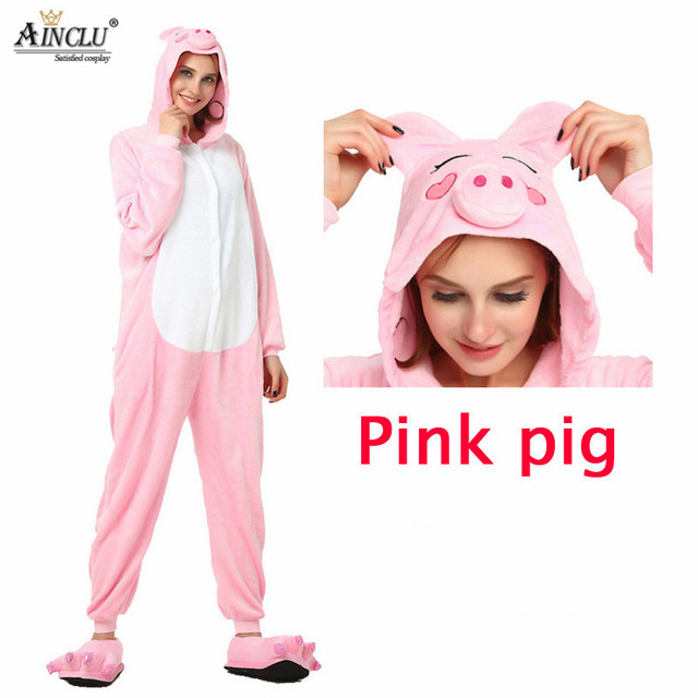 Wholesale Spring and Autumn Pink Pig Pajama Shoes Sets Cartoon Sleepwear  For Men Women Pajama Flannel 89d612013