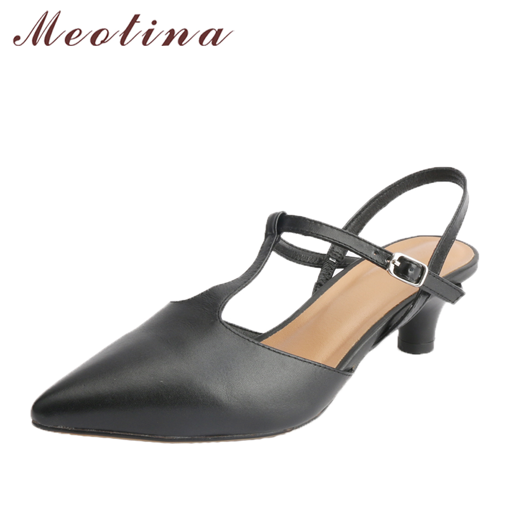 Meotina Genuine Leather Women Pumps Low Heels Pointed Toe Slingbacks Spike Heels Office Lady Shoes Black 2018 Spring Size 34-39 meotina genuine leather women pumps high heels pointed toe nude shoes 2018 spring block heels ladies party shoes bow size 34 43