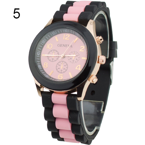Popular Geneva Silicone Band Jelly Gel Quartz Analog Sports Watch Women 2017 New Design NO181 5V9A 2017 new fashion women geneva silicone rubber jelly gel quartz analog sports wrist watch 0vjs