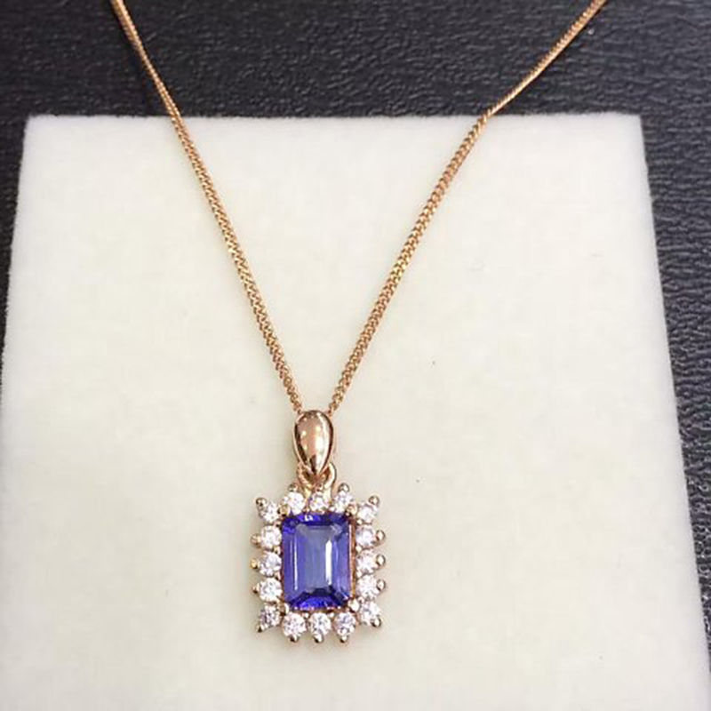 2017 Collares Collier Qi Xuan_Fashion bijoux _blue Stone Necklaces_Rose couleur or carré bleu Necklaces_factory directement ventes
