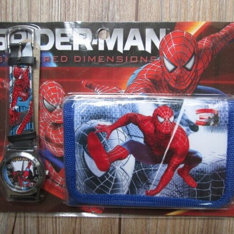 1pcs Hot sale! Wholesale New Lot Spiderman sets cartoon kids part Set watch Wristwatch and wallet purse Islamabad
