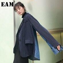 [EAM] 2019 ใหม่ฤดูใบไม้ผลิลาย Denim Patchwork Turn-Down COLLAR SINGLE Breasted หลวมเสื้อผู้หญิงแฟชั่น LC008