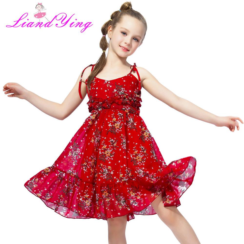 цены Cute Girl Summer Fluffy Red Floral Dress Toddler Child Kids Baby Girl Dress Sleeveless Sling Tutu Dress Colorful Sundress 1-12Y
