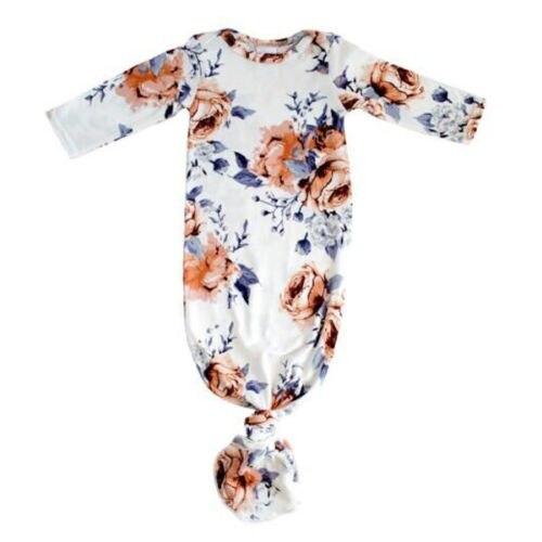 0-24 M Pasgeboren Baby Kid Baby Meisjes Bodysuit Bloemen Nachtjapon Nachtkleding Gown Katoen Lange Mouw Pyjama Set Kleding Outfits Fancy Colors
